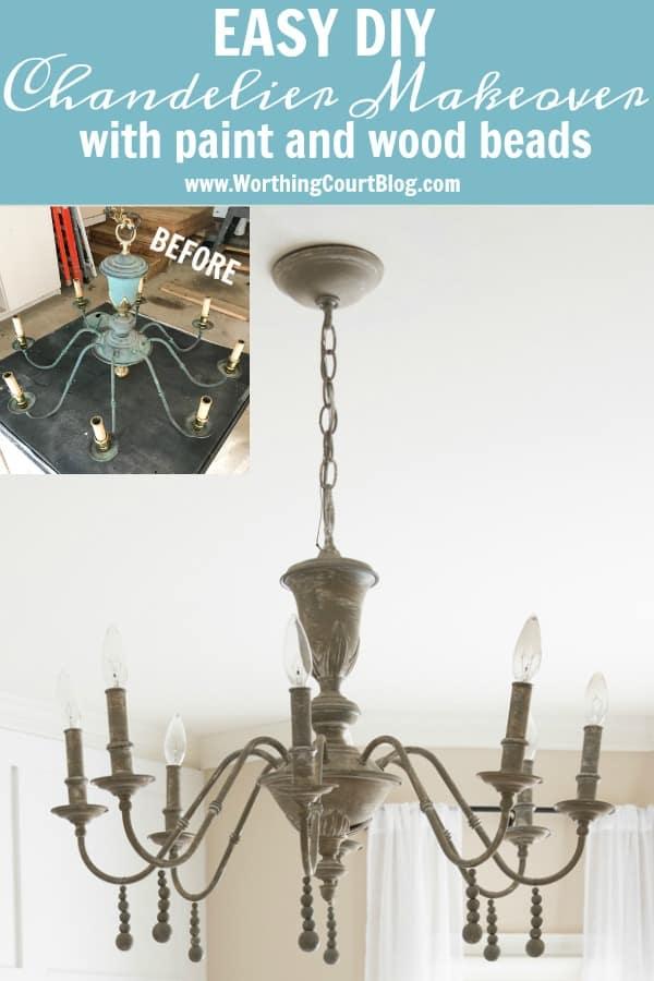 Vintage chandelier makeover tutorial poster.