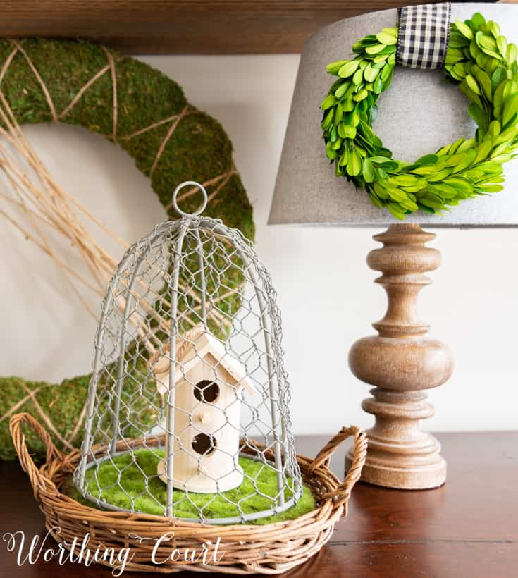 wood birdhouse under a wire cloche