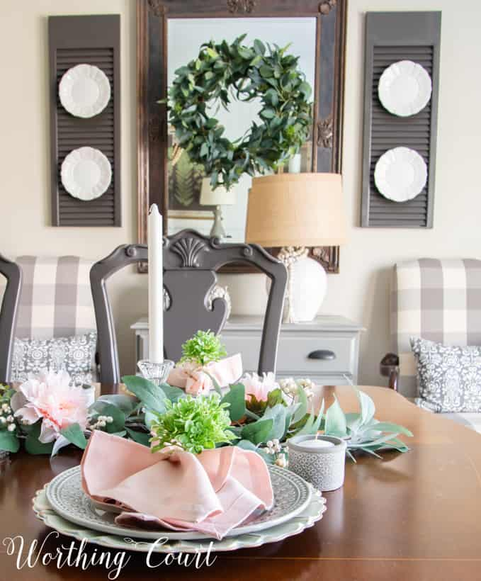 dining room decorated for spring