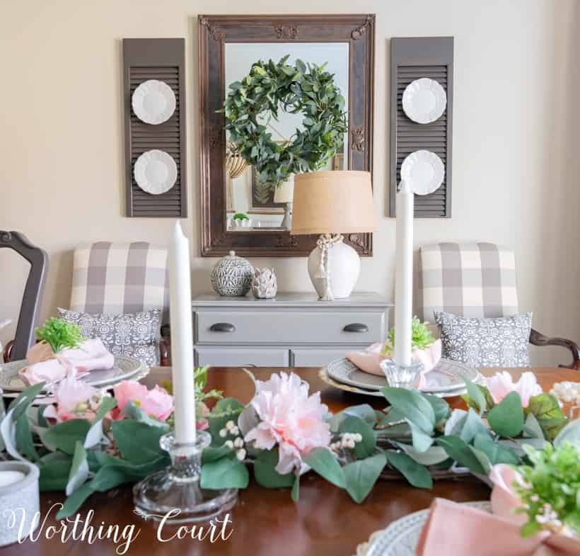 gray and pink dining room tablescape