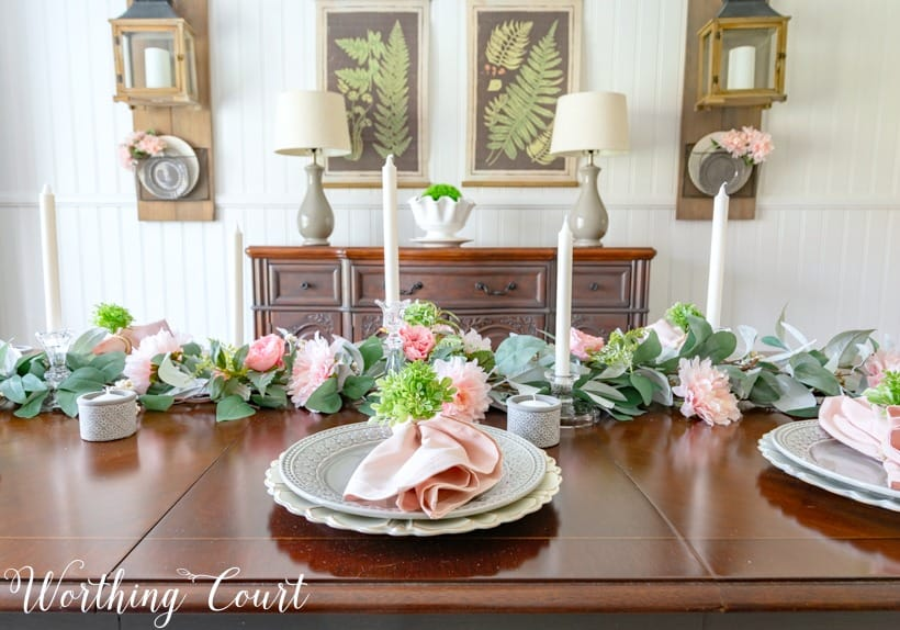 Dining room centerpiece made with eucalyptus