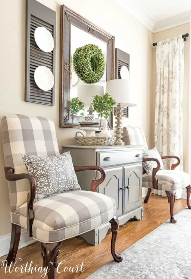 Martha Washington side chairs upholstered with gray and white buffalo check fabric