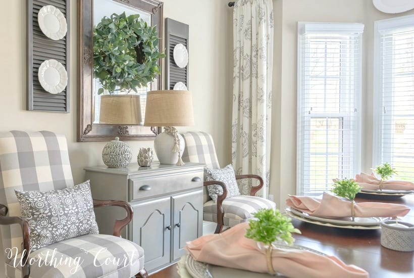 gray dining room chest and arm chairs