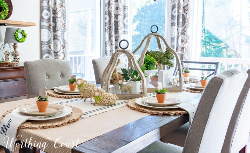 Table set for Easter using neutral colors