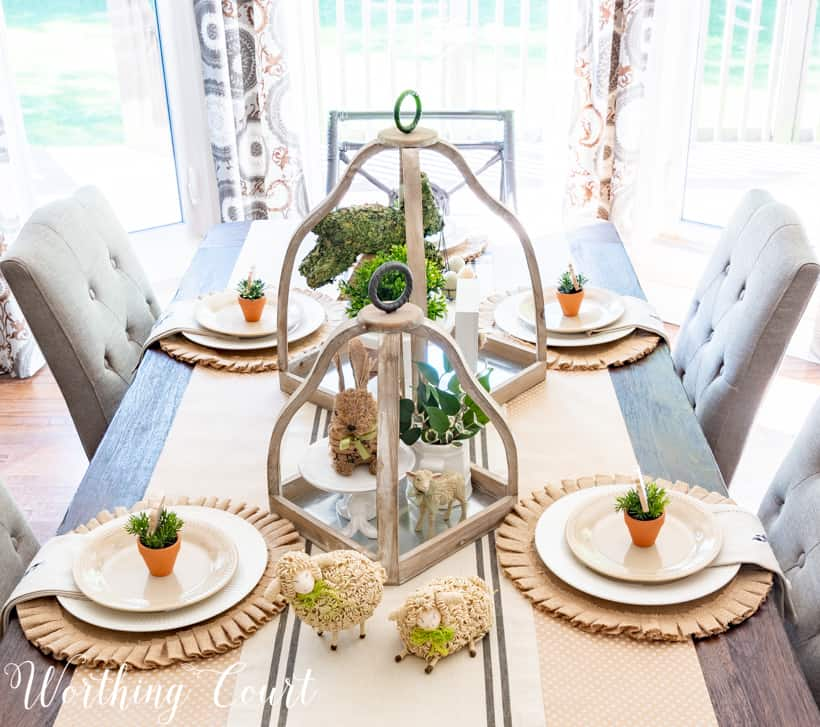 Table set for Easter using neutral decorations