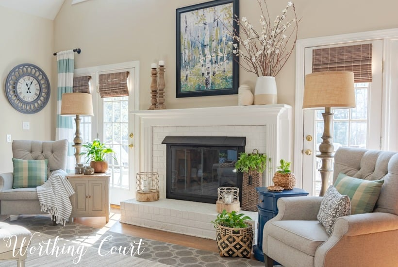 living room decorated with neutral modern farmhouse decor
