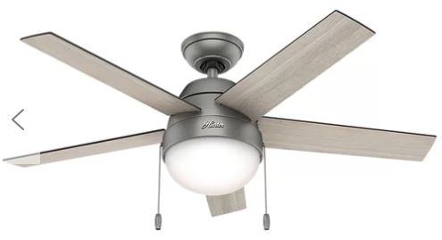 silver ceiling fan with light gray blades