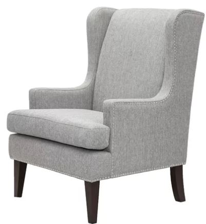 gray wing back chair with modern lines