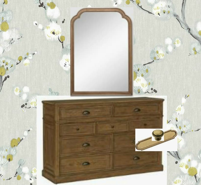 brown dresser and mirror with brass hardware