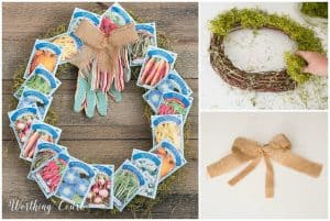 wreath made with seed packets