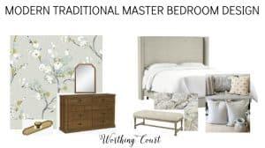 design board for a master bedroom makeover