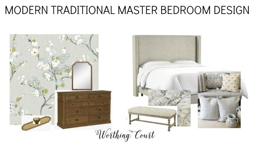 design board for a master bedroom makeover