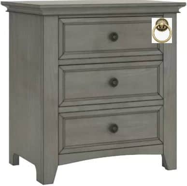 gray nightstand with three drawers