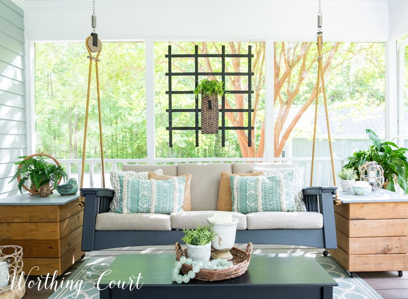 porch swing on a screened in porch