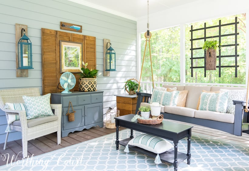 screened in porch decor with swing