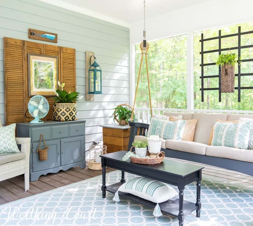 screen porch decor with hand painted furniture