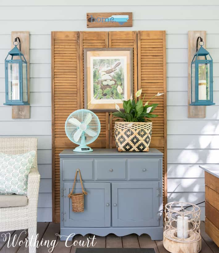 gray chest on a screened in porch