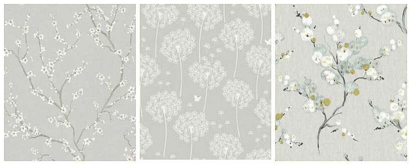 3 different gray and white wallpaper patterns