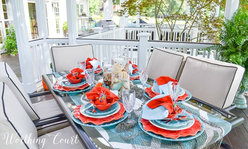 turquoise and coral outdoor table
