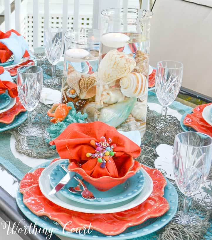 turquoise and coral table setting