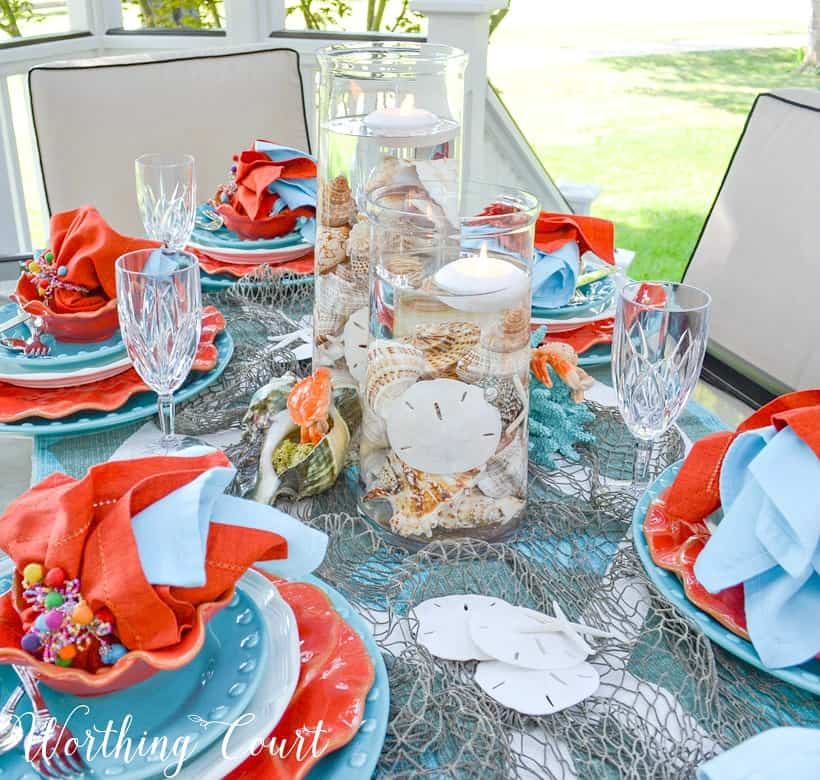 turquoise and coral dishes and napkins