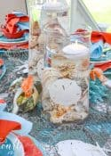 blue and turquoise outdoor tablescape