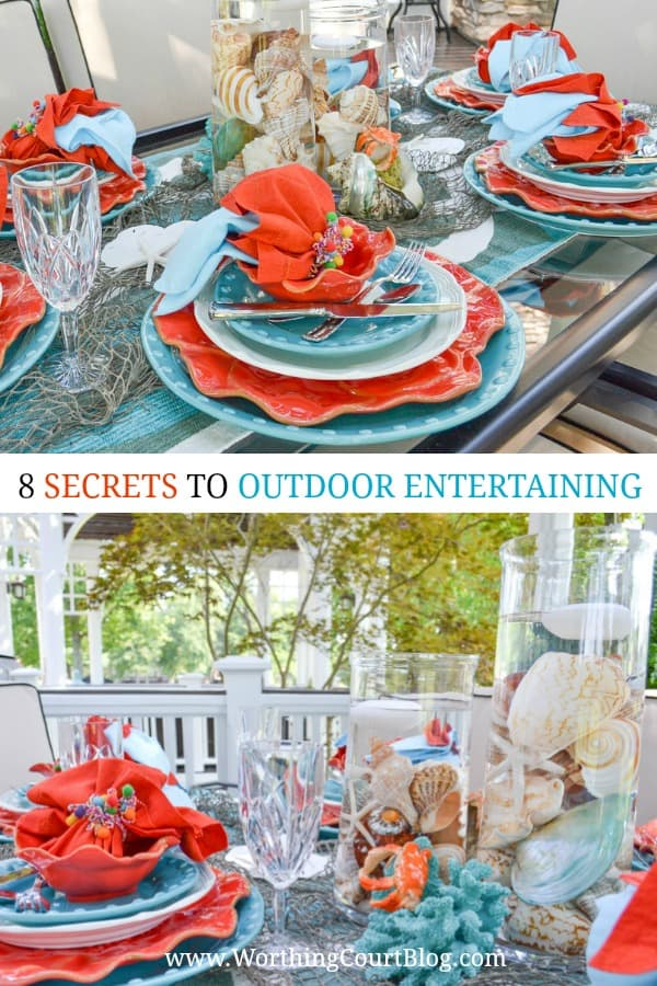 turquoise and coral tablescape