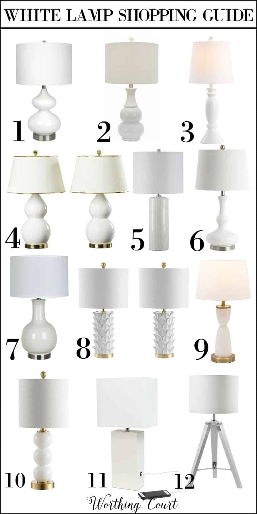 Shopping guide for 12 white table lamps