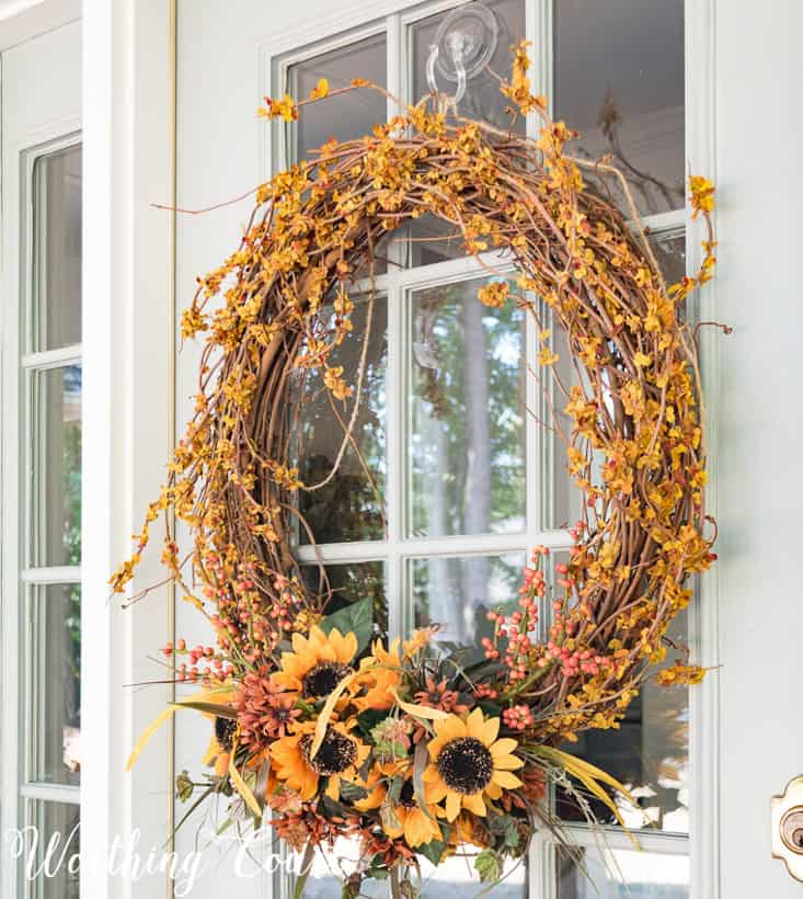 easy fall decorating with a grapevine wreath
