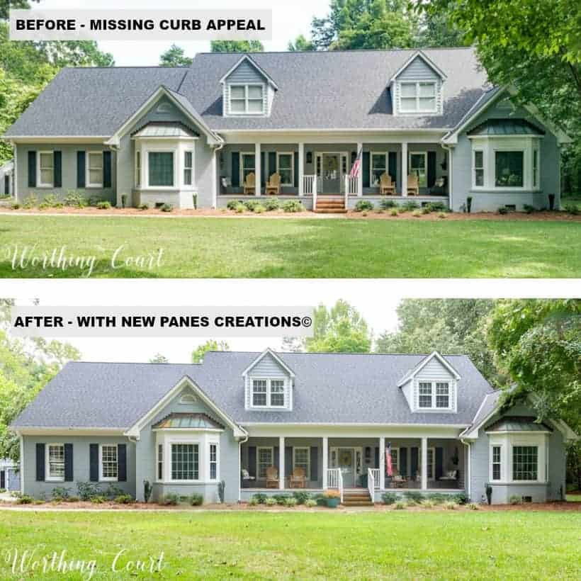 before and after picture of gray house with window grids added