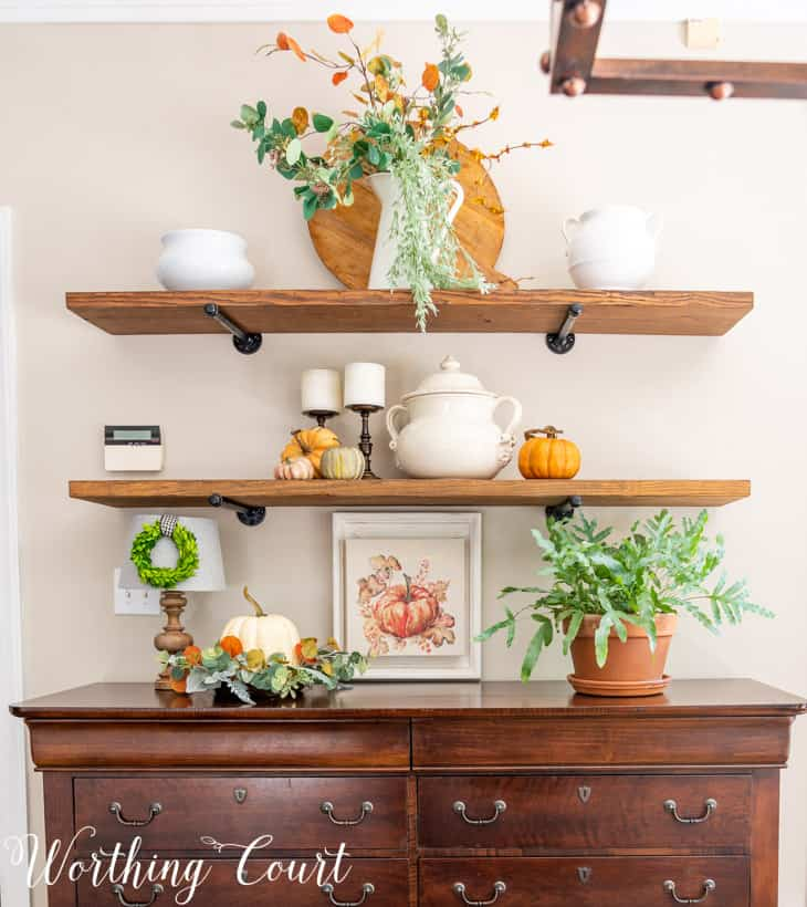 wall shelves with fall decorations