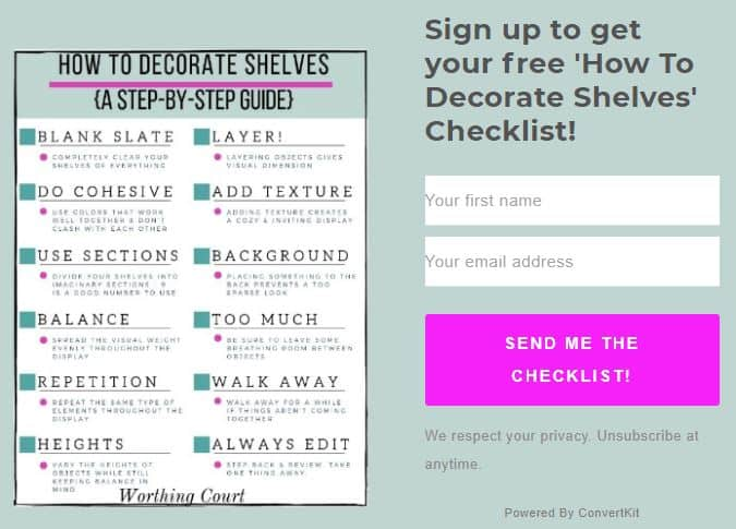 How to decorate shelves checklist.