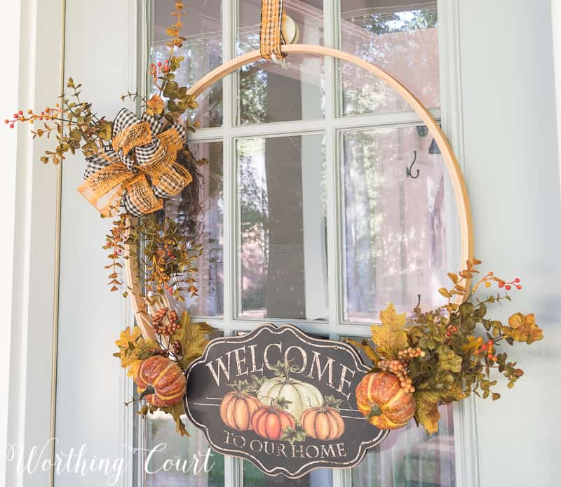 fall wreath made using an embroidery hoop