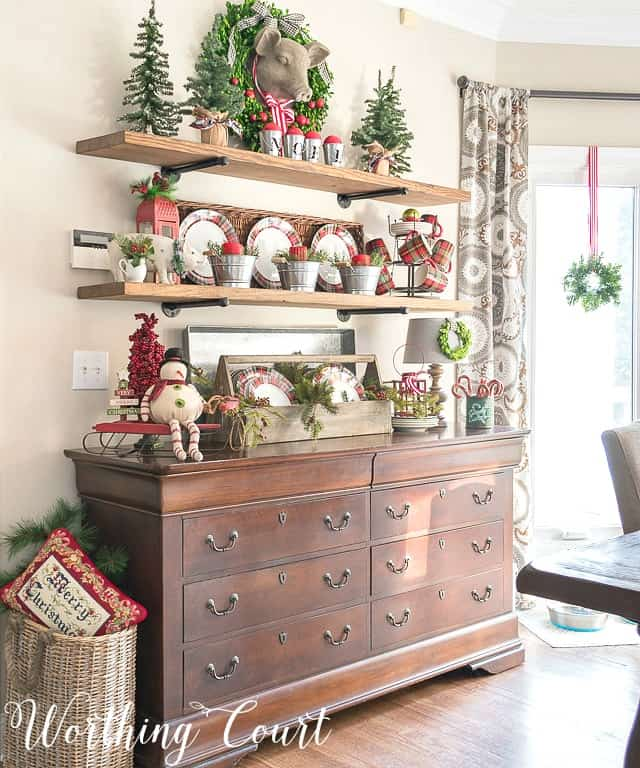 open floating shelves decorated for Christmas