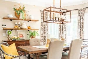 fall shelf decor using a muted color palette