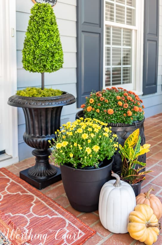 front porch decor ideas grouping mums and pumpkins