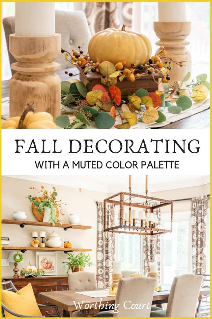 fall shelf decor and a fall centerpiece in muted fall colors