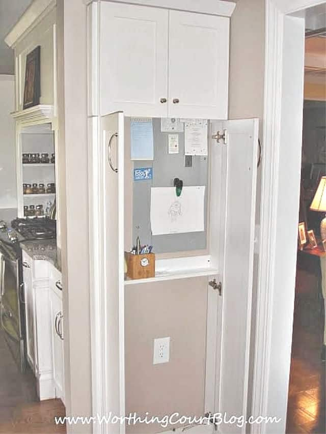 a cool kitchen idea for creating a command center in a tight spot