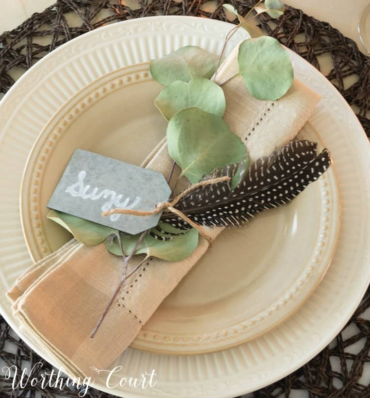 Neutral place setting for hosting Thanksgiving