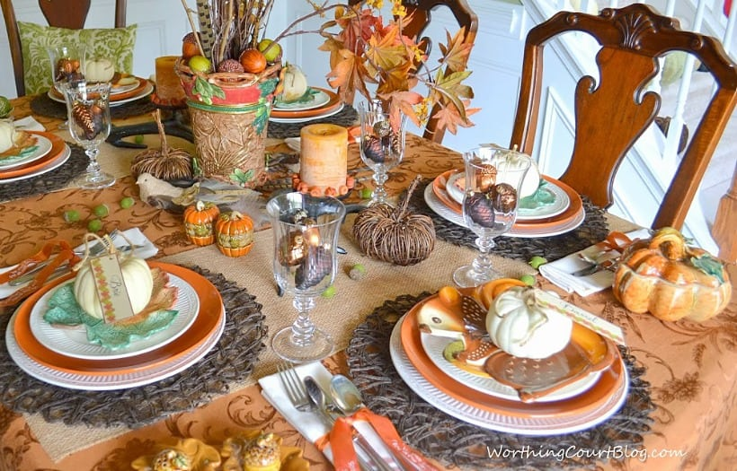 Thanksgiving table set with traditional fall colors