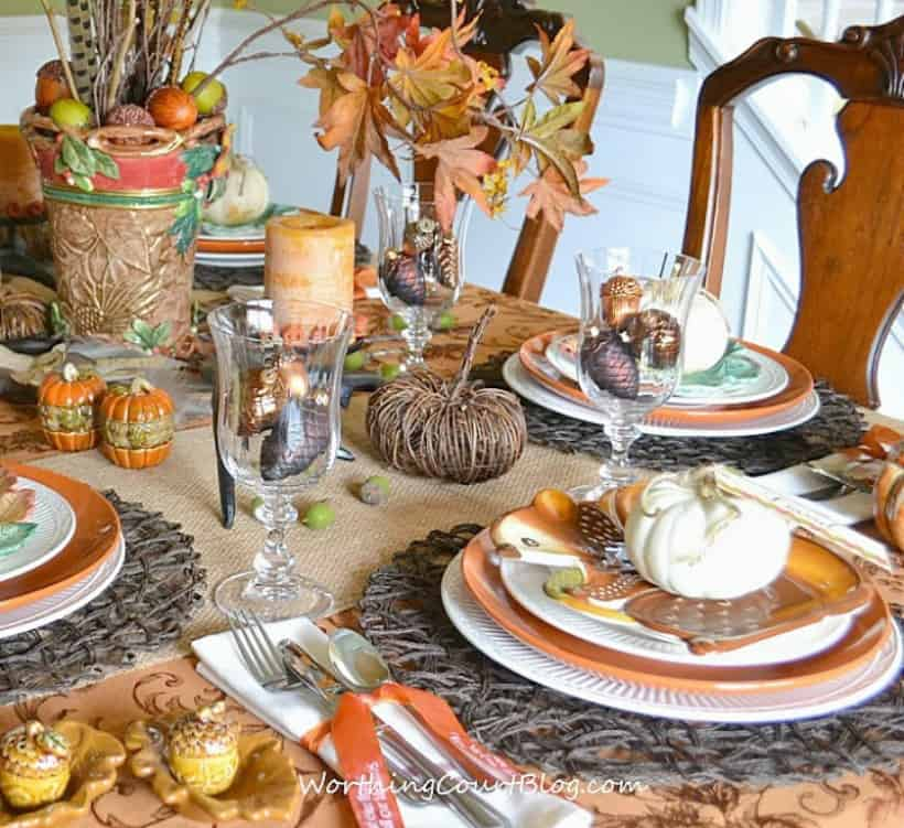 Thanksgiving table set with traditional fall elements