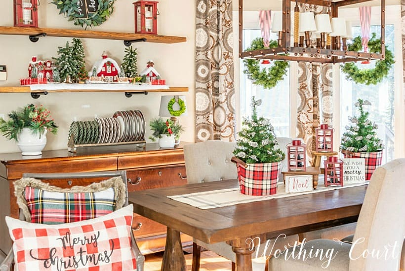 dining room with red, white and plaid Christmas decorations