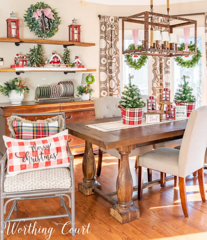 dining room with red, white and plaid decorations