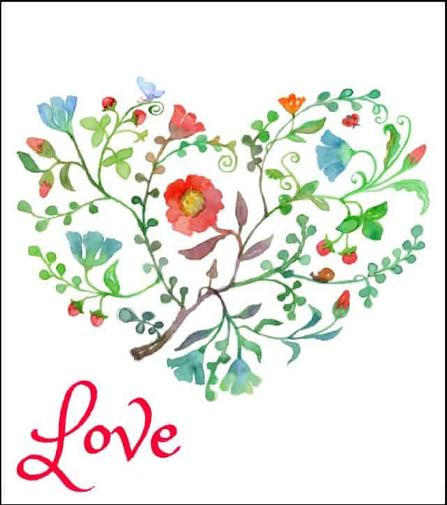 Free floral heart printable for Valentine's Day.