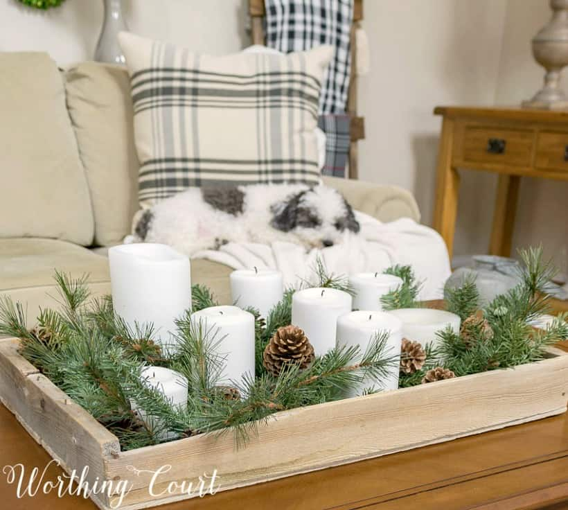 A small wooden tray filled with candles and greenery plus a little dog sleeping on the couch.
