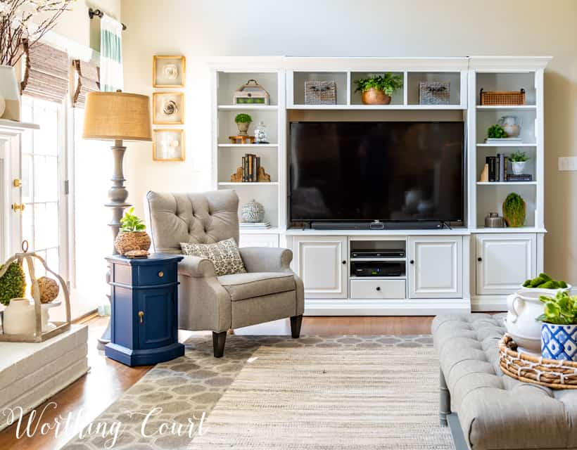 Entertainment center that has been painted white.