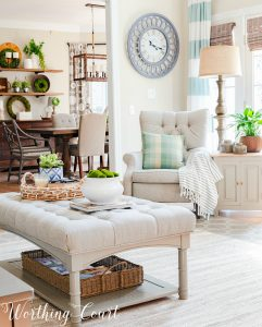 family room decorated with neutral decor