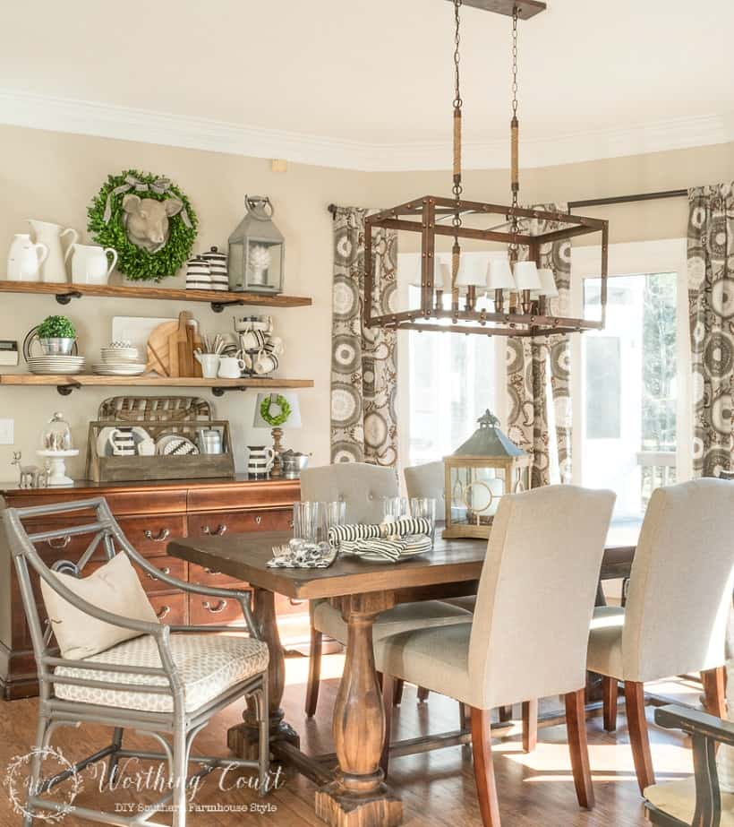 farmhouse breakfast room and open shelves