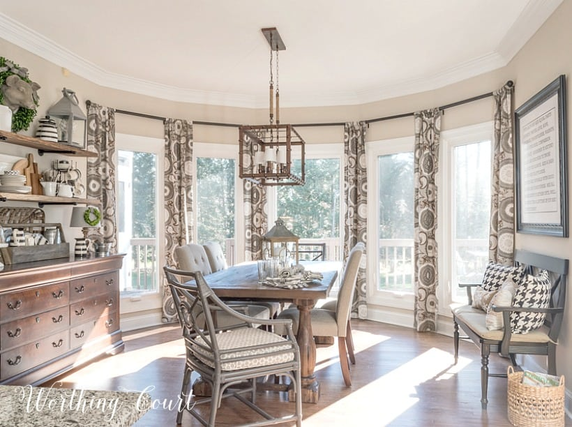breakfast room in a large bay window