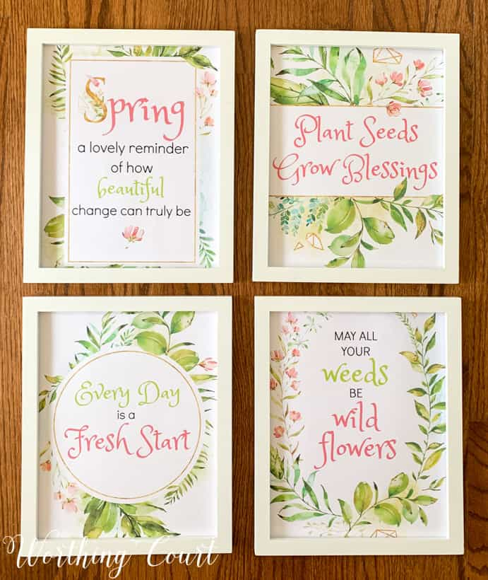 a set of 4 free spring printables